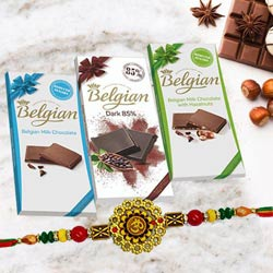 Auspicious Om Rakhi with Belgian Chocolates Trio