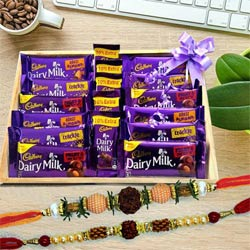 Rudraksha Rakhi Set with Assorted Cadbury Chocolates in Wooden Tray