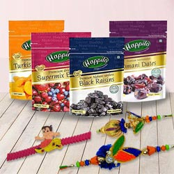 Rakshabandhan Gift of Happilo Imported Dried Fruits with Family Set Rakhi