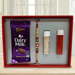 Designer Stone Rakhi with Cadbury Dairy Milk Chocolate