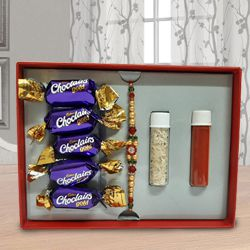 Fancy Stone Rakhi with Chocolates