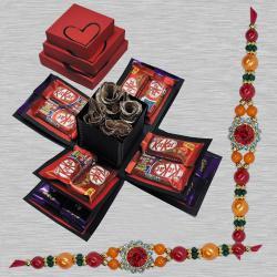 Classy Set of 2 Stone Rakhi with 3 Layer Chocolate Explosion Box