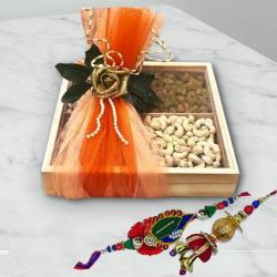 Exquisite Bhaiya Bhabhi Rakhi Set with Dry Fruits