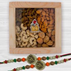 Ethnic Rakhi Set with Exotic Dry Fruits n Ganesh-Laxmi Mandap
