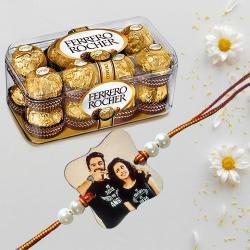 Personalized Photo Rakhi with Ferrero Rocher