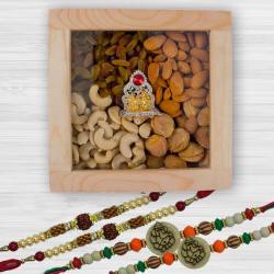 Elegant Ganesh n Rudraksh Rakhi with Dry Fruits, Ganesh-Laxmi Mandap