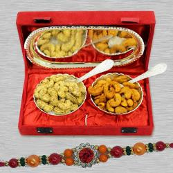 Elegant Stone Rakhi with Cashews in Silver Plated Bowl n Tray