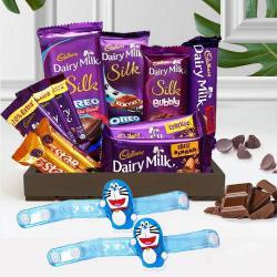 Splendid Doremon Rakhi with Cadbury Chocolate Treat Hamper