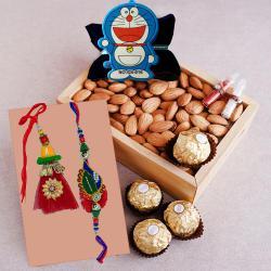Classy Family Rakhi Set with Ferrero Rocher n Almonds