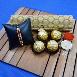 Fancy Golden Rakhi N Ferrero Rocher in Reusable Bamboo Box