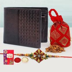 Fancy Zardosi Rakhi with Brown Leather Wallet N Almond Potli