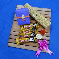 Trendy Chota Bheem Rakhi N Cadbury 5 Star in Bamboo Box