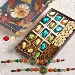 Astonishing Ganesh Rakhi Set with Homemade Chocolates n Dry Fruits Box