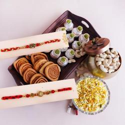 Designer Rakhi Pair with Sweets N Snacks