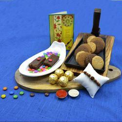 Rakhi Gift of Cookie Man Cookies, Ferrero Rocher  N  Brownie Chocolates