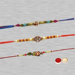 Fabulous Collection of 3 Pieces Zardozi Rakhi with Free Roli Tilak and Chawal on Raksha Bandhan