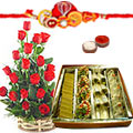 1/2 Kg. Assorted Sweets from <font color=#FF0000>Haldiram</font> and 18 Red Roses Basket with Free Rakhi,