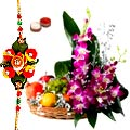 Lip-smacking Fresh Fruit Gift Basket festooned with Beautiful Orchids