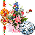 Kaju Katli from <font color=#FF0000>Haldiram</font> and Seasonal Flowers Bouquet with Free Rakhi,
