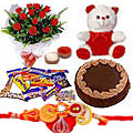 1 Rakhi with   Red Roses, Chocolate Cake, Assorted Cadbury Chocolates and Teddy Bear