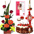 Seasonal Flower Bouquet with Fresh Baked Cake nd 1 Free Rakhi
