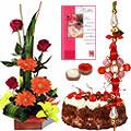 Seasonal Flower Bouquet with Fresh Baked Cake nd 1 Free Rakhi