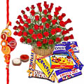 50 Red Roses with Assoted Chocolates and 1 Rakhi