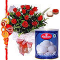 1 Kg. Rasgulla from <font color=#FF0000>Haldiram</font> and 12 Red Roses with Free Rakhi