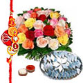1 Kg. Kaju Katli and 24 Mixed Roses Bouquet with Free Rakhi, Roli Tika, Chawal