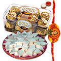 Badam Katli from <font color=#FF0000>Haldiram</font>, Ferrero Rocher along with a free Rakhi, Roli tilak and Chawal